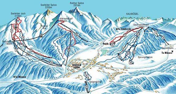 Схема горнолыжного курорта Зеефельд