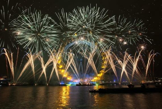 Лондон, новогоднее шоу фейерверков