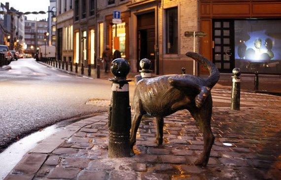 Писающая собака в Брюсселе