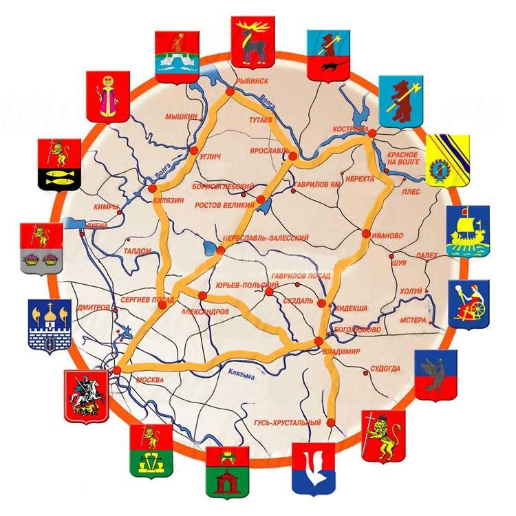 Карта: города Золотого Кольца России