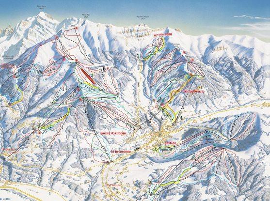 Межев - карта горнолыжного курорта