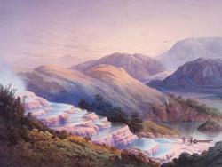 Розовые террасы из кварца в Новой Зеландии
